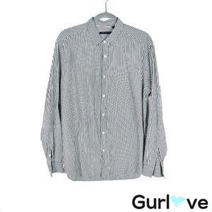 Theory Gray Striped Button Men Shirt Size XL